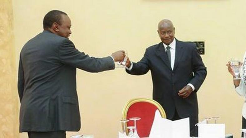President Uhuru Kenyatta with Uganda's Yoweri Museveni