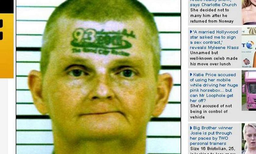 Najgorszy tatuaż świata. Na czole!
