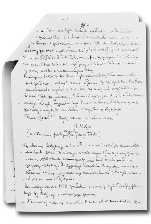 Kartki,na których w latach 90. Gierek spisywał swoje wspomnienia