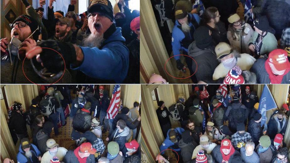 Jon Schaffer (w niebieskiej bluzie, czapce i z brodą) podczas ataku na Kapitol