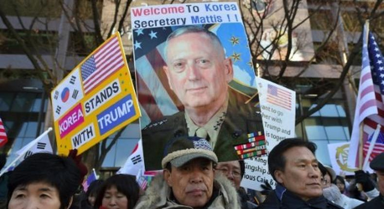 South Korean Christians supporting US President Donald Trump rally to welcome US Defense Secretary James Mattis in Seoul on February 2, 2017