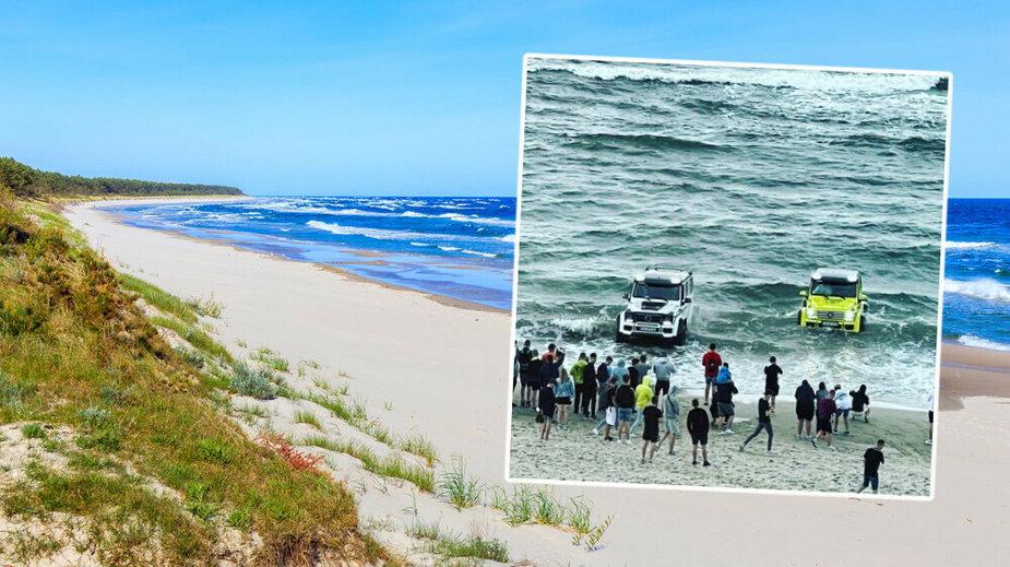 Wjechał na plażę w Kołobrzegu mercedesem... i utknął