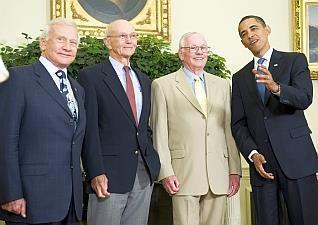 Buzz Aldrin, Michael Collins, Neil Armstrong i Barack Obama