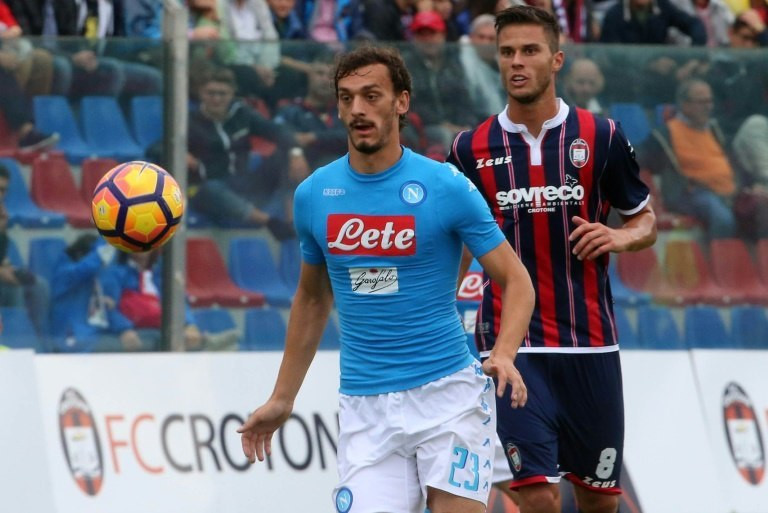 Napoli's forward Manolo Gabbiadini eyes the ball during an Italian Serie A football match against Crotone on October 23, 2016