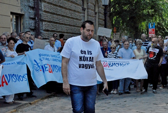 Kornel Bajtai na nedavnom protestu novinara