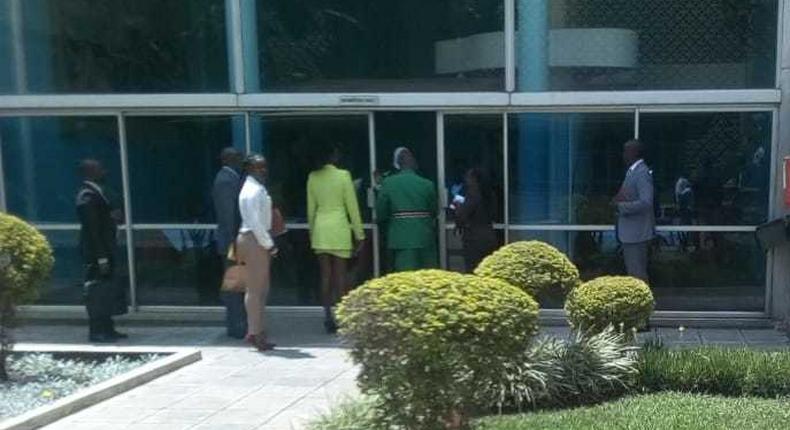 Singer Akothee at parliament with Nominated MP David Sankok