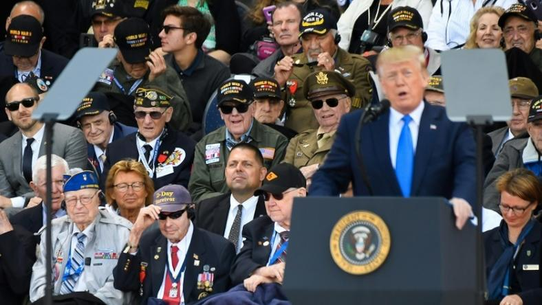 Donald Trump joined other world leaders in northern France where thousands of well-wishers gathered to pay tribute to the ever-dwindling number of veterans of the famed landings which shaped the outcome of World War II.