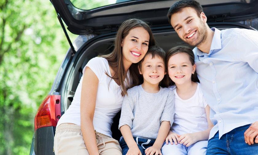 rodzina, wakacje, samochód, dziecko, dzieci