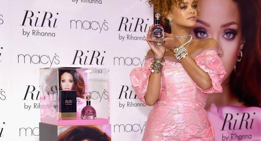 Bad girl RiRi, steps out in pink retro look for the launch of her new perfume line, RiRi by Rihanna, at Macy's, New York