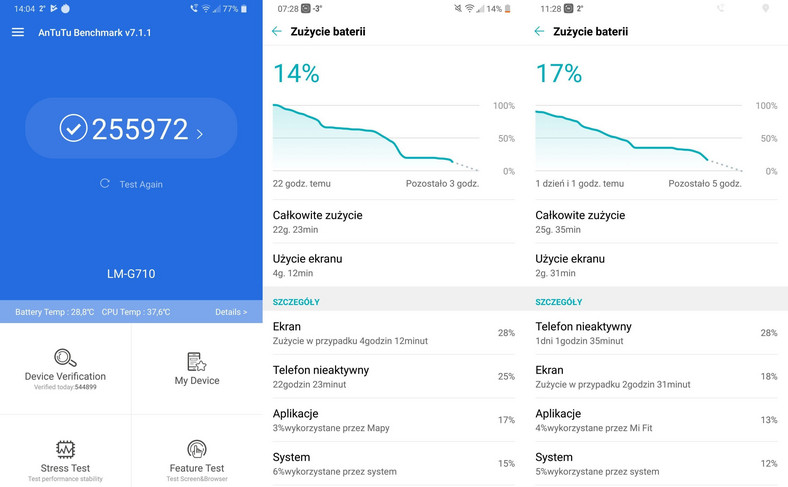 LG G7 Thinq - AnTuTu Benchmark, czas pracy na baterii