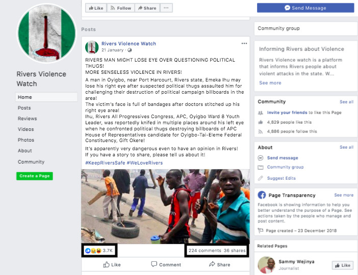 """The """"Rivers Violence Watch"""" group made numerous posts that targeted state governor, Nyesom Wike [DFRLab]"""