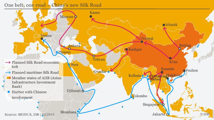 Trasy lądowe i morskie Nowego Szlaku Jedwabnego