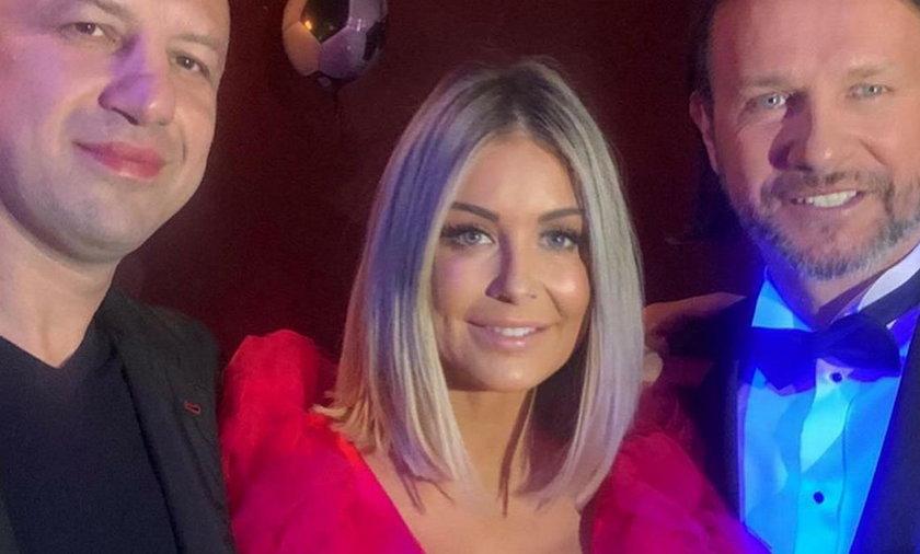 Małgorzata Rozenek z mężem Radosławem i Tomaszem Adamkiem