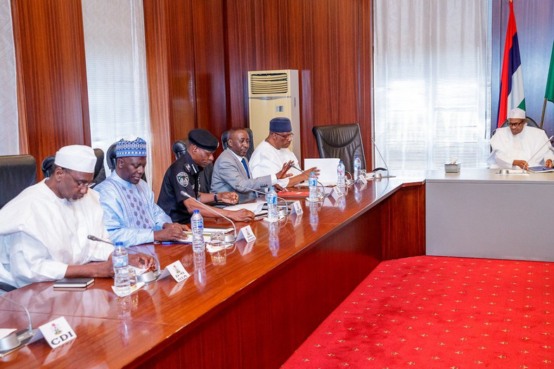 President Buhari meets security Chiefs at the Villa [Twitter/@NGRPresident]