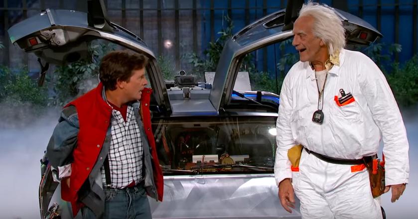 """Michael J. Fox i Christopher Lloyd - odwtórcy głównych ról w serii filmów """"Powrót do przyszłości"""""""