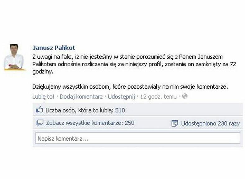 Wpis, jaki pojawił się na profilu Janusza Palikota na Facebooku