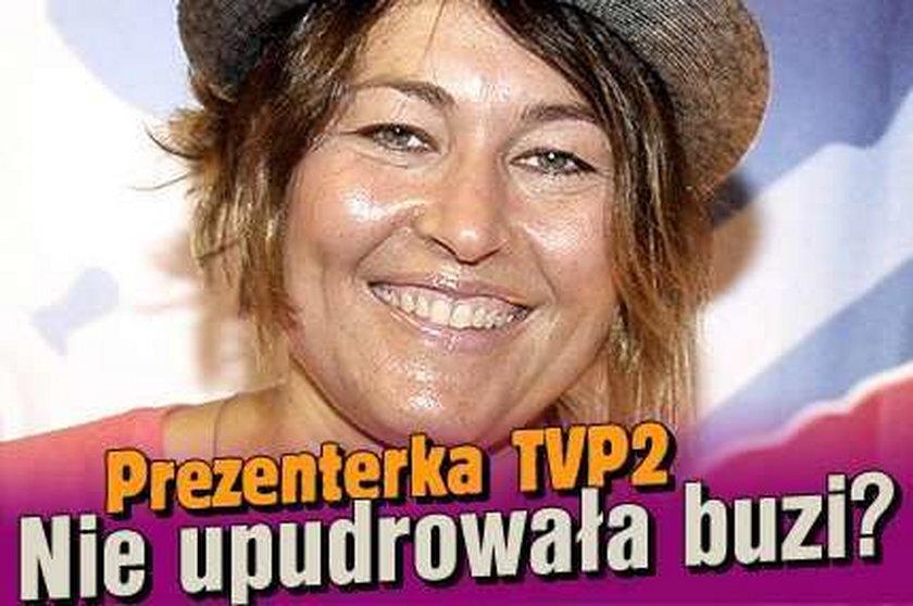 Prezenterka TVP2. Nie upudrowała buzi?