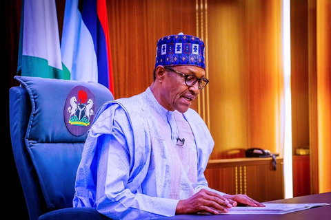 President Muhammadu Buhari read his address from the Presidential Villa early on Thursday, October 1, 2020 ahead of Nigeria's 60th independence anniversary celebrations [Presidency]