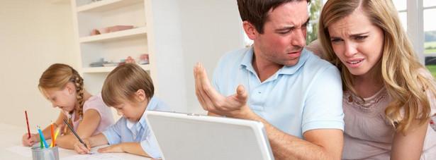 rodzina, kłopoty, komputer, dzieci