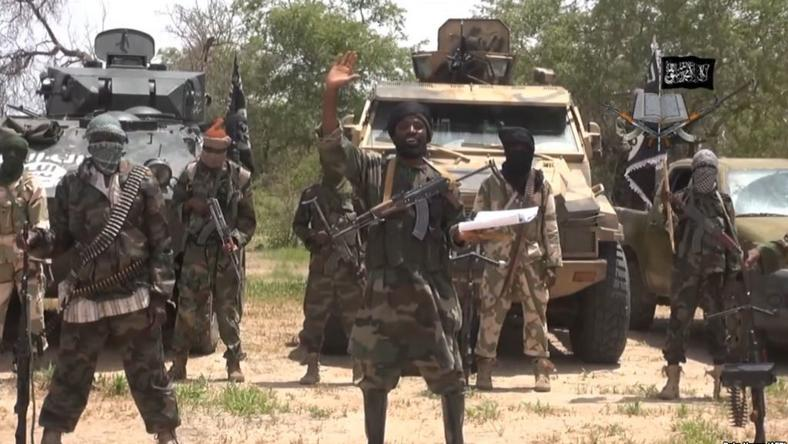 Boko Haram leader, Abubakar Shekau pictured with some of his fighters