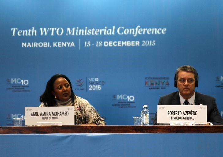 The Kenyan Foreign Affairs Cabinet Secretary Amina Mohamed (L) and the Director General of the World Trade Organization (WTO) Roberto Azevedo attend the opening of the World Trade Organization (WTO) Summit in Nairobi, Kenya December 15, 2015. REUTERS/Noor Khamis