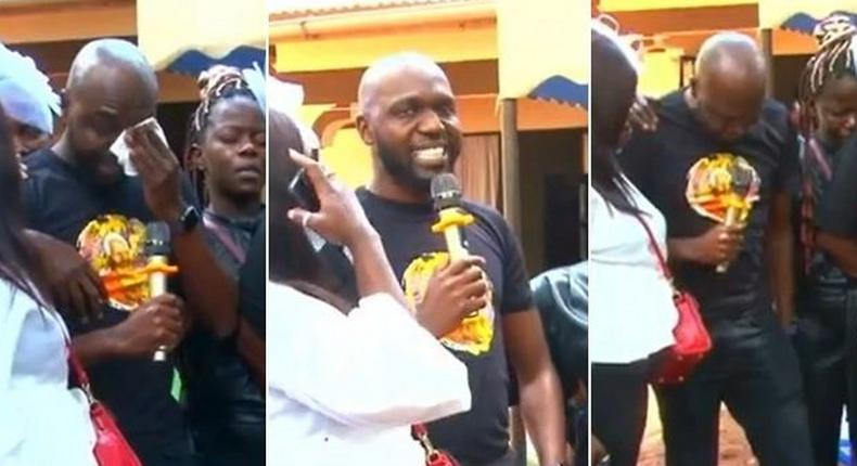 Larry Madowo during the burial of his grandmother
