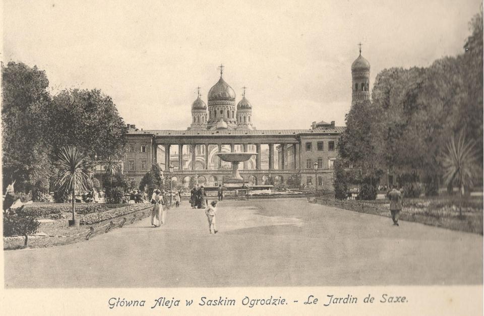Widok na Pałac Saski i Sobór z Ogrodu Saskiego