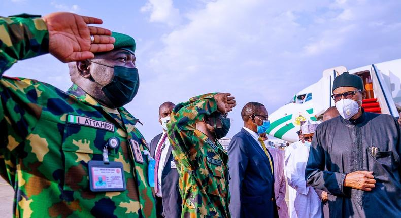 President Muhammadu Buhari returns to Nigeria after medical trip to London. [Presidency]