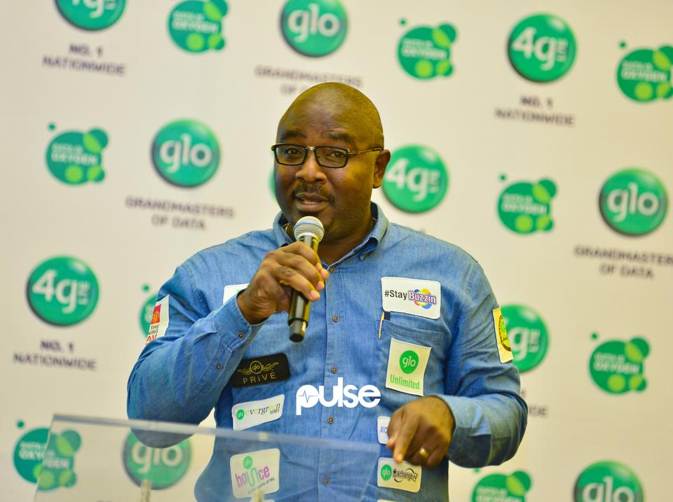 Globacom's Senior Manager, Marketing Communications,  Mr. Sola Mogaji speaking at Glo unveil event which held at Eko hotel & suites, Victoria Island Lagos on Friday, February 1, 2019.