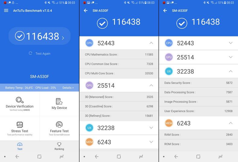 Samsung Galaxy A8 - AnTuTu Benchmark