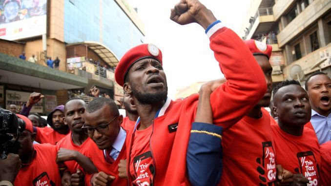 Bobi Wine during the protests against social media tax which came into effect on July 1st