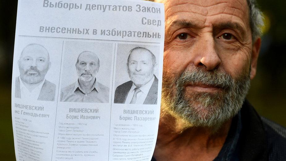 Boris Wiszniewski i jego sobowtóry z plakatu wyborczego