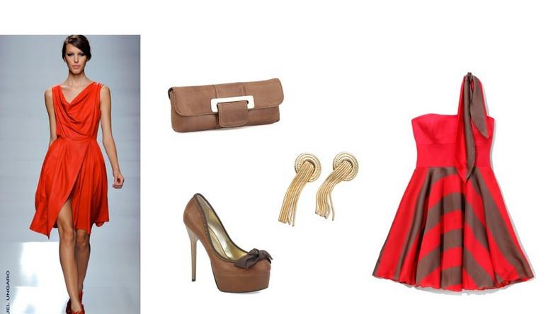 Kreacja marki Emanuel Ungaro zwraca uwagę nie tylko podkreślającym sylwetkę rozkloszowanym dołem, ale i kolorem intensywnej czerwieni, która w połączeniu z karmelowym odcieniem brązu nadaje lekkości całej stylizacji.