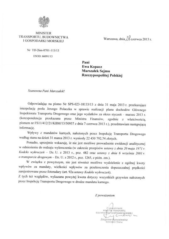 Pismo z ministerstwa transportu