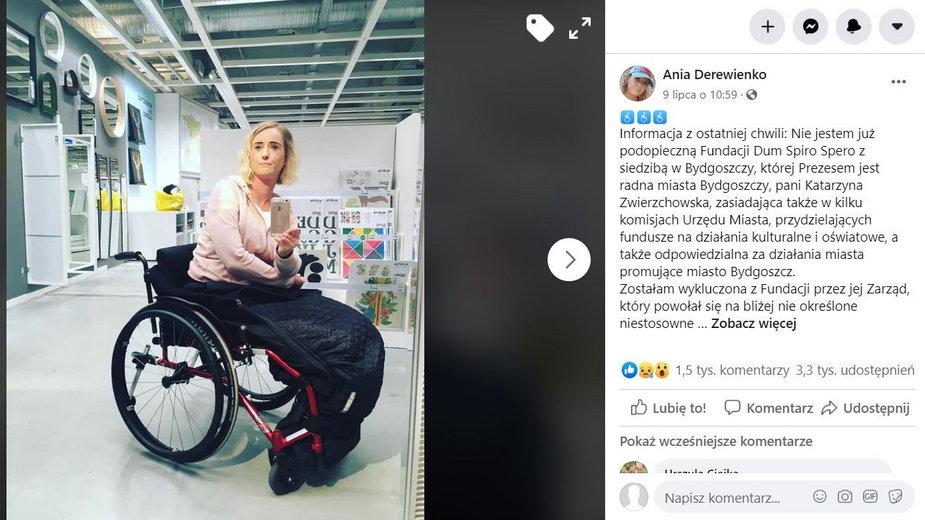 Post Anny Derewienko z 9 lipca. Anna Derewienko