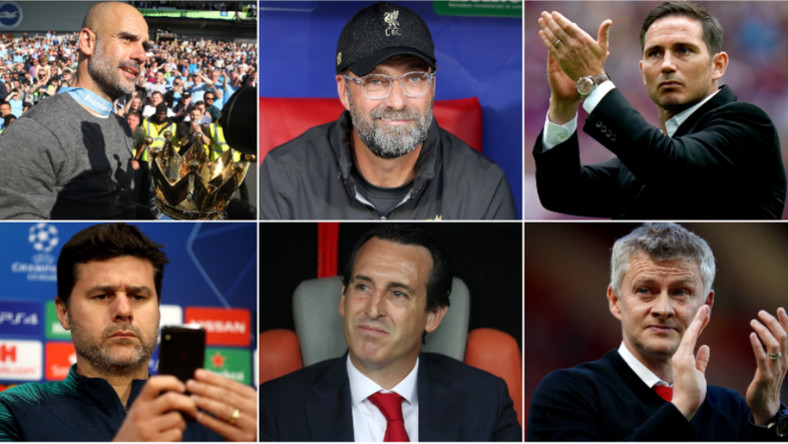 Managers of EPL Teams, from top left to right, Pep Guardiola, Jurgen Klopp, Frank Lampard, mauricio pochettino, unai emery and Ole Gunnar Solskjær.