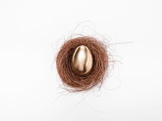 Close-up top view of golden Easter egg in nest on white background