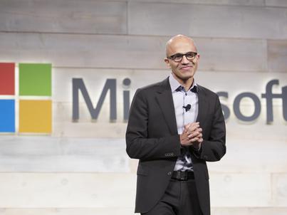 Satya Nadella, CEO Microsoftu, który zajął 1. miejsce w rankingu Reutersa