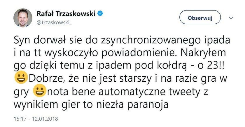 Trzaskowski nakrył syna, gdy robił to w nocy pod kołdrą!