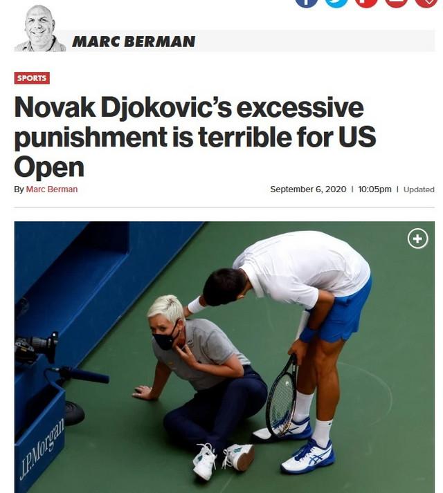 Tekst Njujork posta o diskvalifikovanju Novaka Đokovića na US Openu 2020.