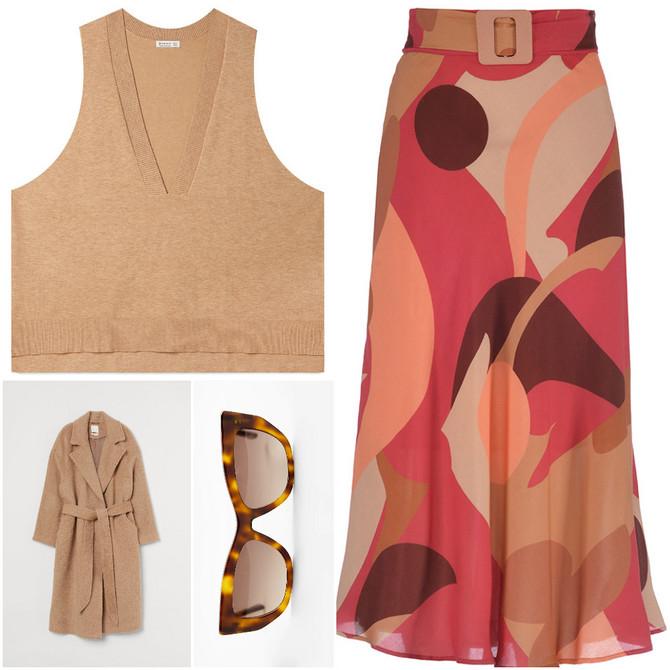 """Kaput """"H&M"""", prsluk """"Stradivarius"""", suknja """"Tiffany"""", naočare za sunce """"Zara"""""""