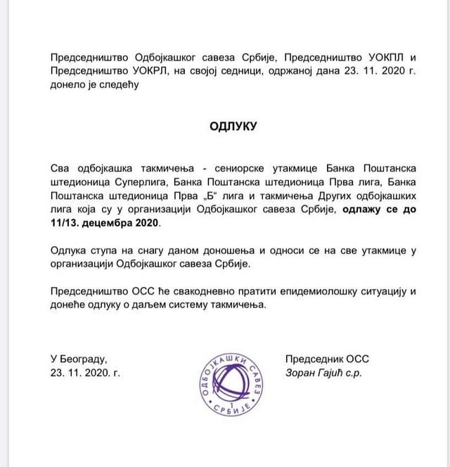 Odluka Odbojkaškog saveza Srbije