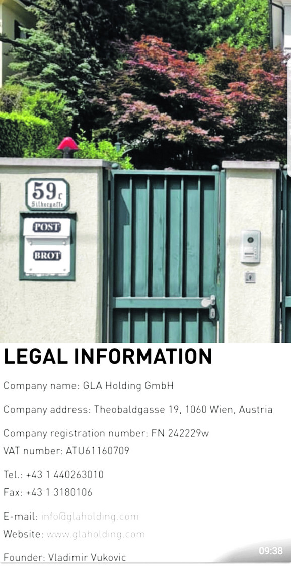 Sedište nekih Vukovićevih firmi u Beču