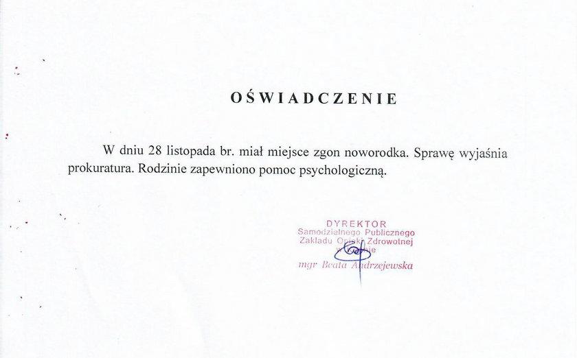 Oświadczenie dyrekcji szpitala w Kępnie
