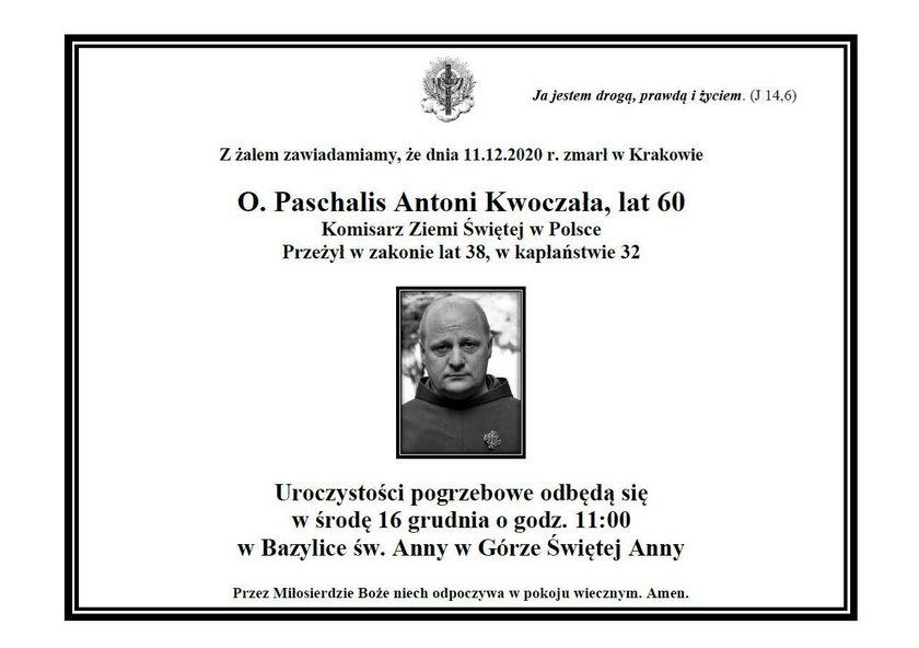 O. Paschalis Antoni Kwoczała nie żyje. Był Komisarzem Ziemi Świętej w Krakowie