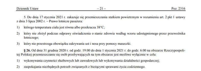 Rozporządzenie Rady Ministrów z dnia 21 grudnia 2020 r. w sprawie ustanowienia określonych ograniczeń, nakazów i zakazów w związku z wystąpieniem stanu epidemii