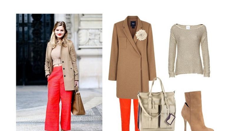 Kompozycja: płaszcz oraz spodnie GAP, sweter Fraternity/ Royal Collection, broszka Sophie Thao, torebka Franco Bellucci, botki Kazar