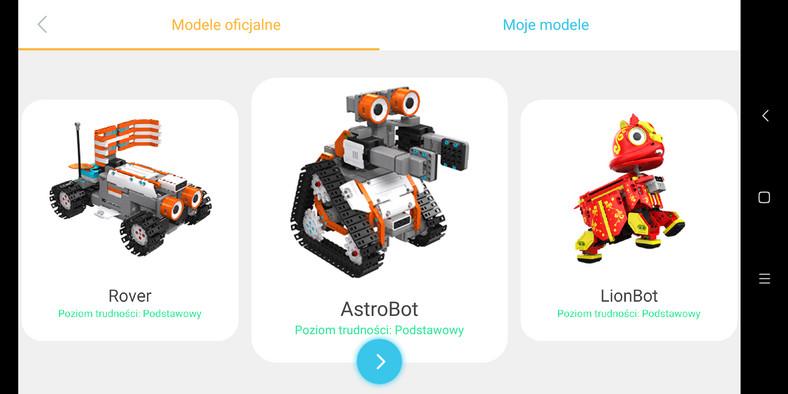 Jimu Robot - aplikacja, wybór modelu