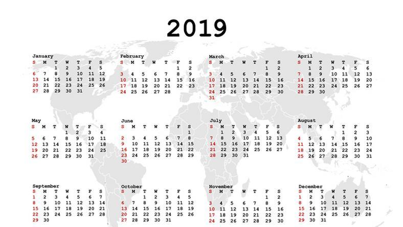 2019 naptár Jó hír a karácsony kapcsán! Ezek a munkaszüneti napok, hosszú  2019 naptár