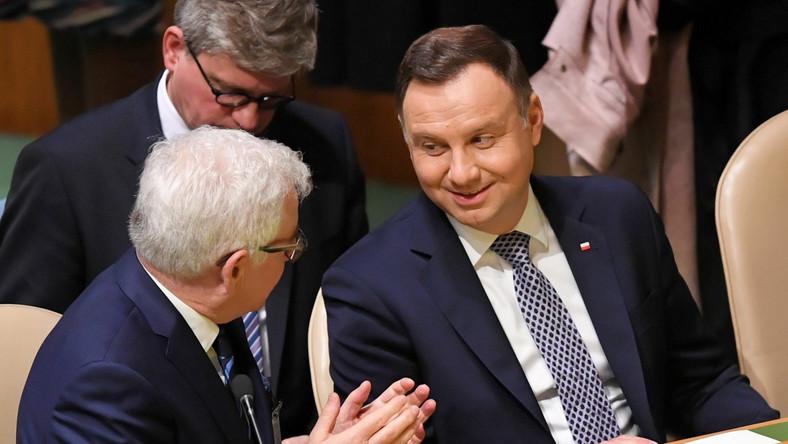 Prezydent RP Andrzej Duda, szef MSZ Jacek Czaputowicz i szef BBN Paweł Soloch podczas debaty generalnej 73. sesji Zgromadzenia ONZ